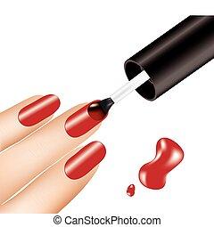mulher, aplicando, prego, vetorial, polaco, dedos, vermelho