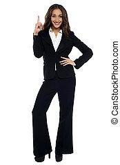 mulher aponta, cima, formals