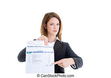 mulher aponta, conta médica, isolado, devido, passado, white., caucasiano