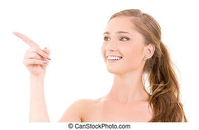 mulher aponta, dela, dedo
