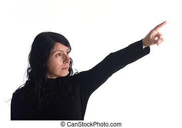 mulher aponta