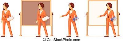 mulher aponta, whiteboard, carta aleta, vetorial