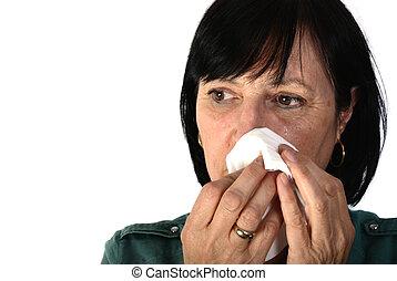 mulher, aposentado, chorando