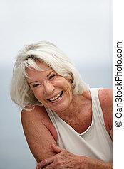 mulher, aposentado, rir