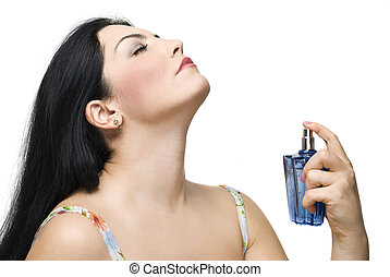 mulher, apreciar, a, fragrância, de, dela, perfume