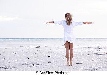 mulher, apreciar, mar, praia