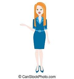mulher, apresentação, negócio