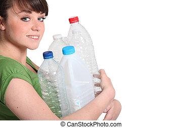 mulher, aproximadamente, para, recicle
