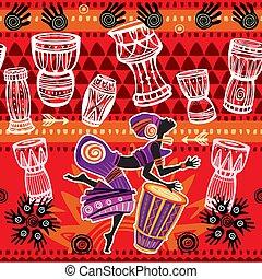 mulher, arabescos, étnico, dançar, africano, fundo