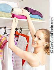 mulher, armário, chooses, guarda-roupa, lar, roupas