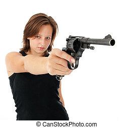 mulher, arma, jovem