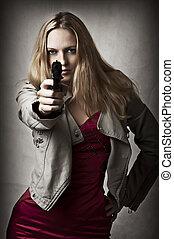 mulher, arma, mão, loura, excitado, retrato
