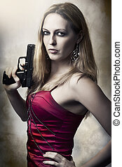 mulher, arma, moda, segurando, retrato, excitado
