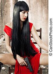 mulher, arma, morena, excitado, vestido, vermelho