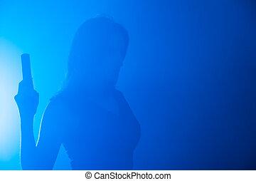 mulher, arma, nevoeiro