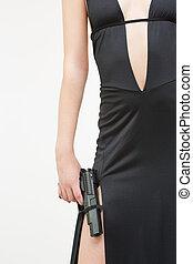 mulher, arma, pretas, segurando, excitado, vestido