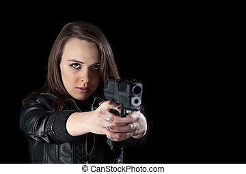 mulher, armas, excitado