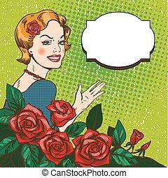 mulher, arte, buquet, estouro, rosas, vetorial, ilustração, style.