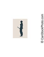mulher, arte, caratê, marcial, espada, silueta