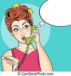 mulher, arte, estouro, telefone, retro, surpreendido