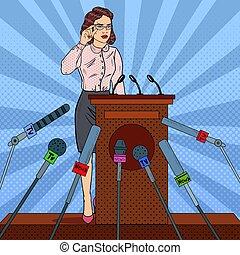 mulher, arte, negócio, mídia, estouro, vetorial, massa, ilustração, interview., imprensa, conference.