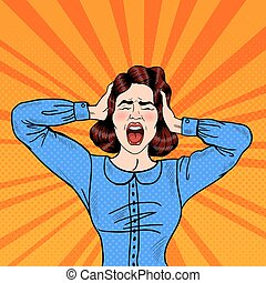 mulher, arte, vecto, gritando, zangado, estouro, segurando, head., frustrado