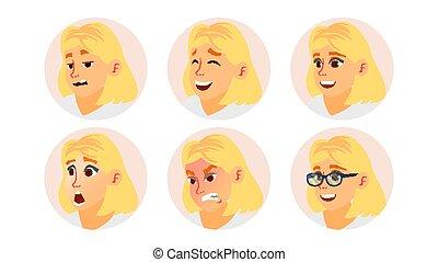 mulher, arte, vector., negócio, placeholder., rosto, set., modernos, isolado, ilustração, rosto, menina, emoções, femininas, loiro, cômico, avatar