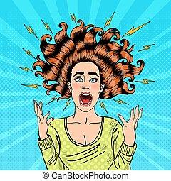mulher, arte, voando, estouro, cabelo, furioso, agressivo, gritando
