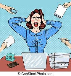 mulher, arte, work., escritório, gritando, zangado, estouro, vetorial, frustrado