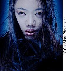 mulher, asiático, artisticos