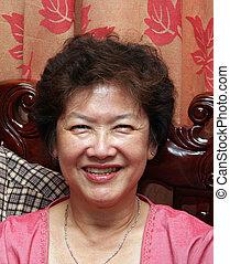 mulher, asiático, feliz