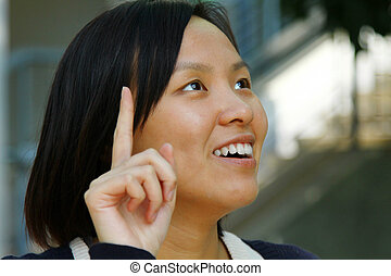 mulher, asiático, idéia