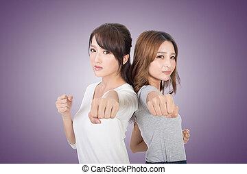 mulher, asiático, togethe, luta
