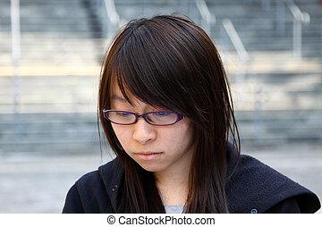 mulher, asiático, triste