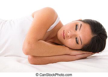 mulher asian, adormecido