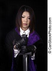 mulher asian, com, espada