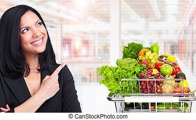 mulher asian, com, shopping mantimento, cart.