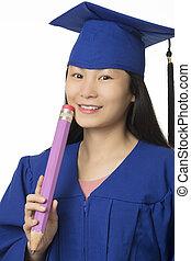 mulher asian, desgastar, azul, graduação, segurando, lápis, isolado, fundo branco