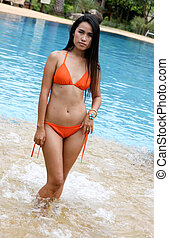 mulher asian, desgastar, um, bikini.