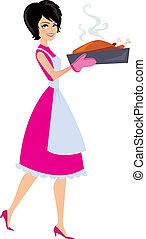 mulher, assando, ilustração
