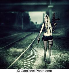 mulher, assassino, arma, segurando, excitado, automático