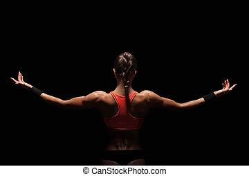 mulher, atlético, mostrando, jovem, costas, músculos