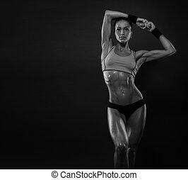 mulher, atraente, condicão física