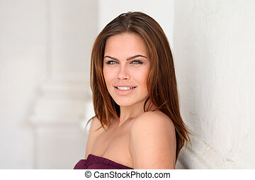 mulher, atraente, jovem
