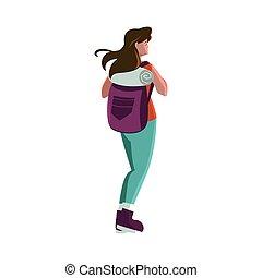 mulher, aventuroso, travelbag