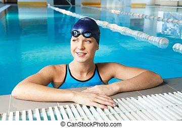 mulher, azul, desgastar, paleto, natação, jovem, chapéu, piscina