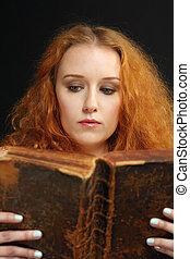 mulher, bíblia, antigas, jovem, leitura