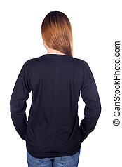 mulher, (back, manga, side), isolado, longo, t-shirt,...