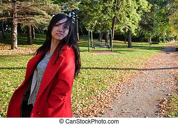 mulher, balançando, cabelo