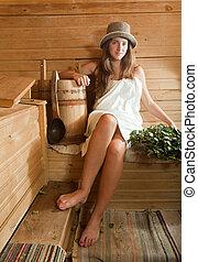 mulher, banco, madeira, sauna